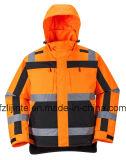 Куртка безопасности видимости зимы отражательная проложенная высокая