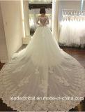 Lange Hülsen-Brautkleid-Spitze-Tulle-reales Foto-Hochzeits-Kleid A17948