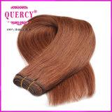 焦茶の毛はペルーの直毛の織り方100%の人間の毛髪を着色した