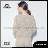 Karen-Frauen-stilvolle lange Hülse weg von Schulter gestrickter Kleidung