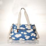 방수 PVC 화포 푸른 하늘 패턴 어깨에 매는 가방 핸드백 (99213)