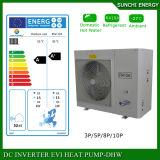 Água rachada da bomba de calor da fonte de ar de Evi da bobina elevada do medidor 12kw/19kw/35kw da casa Heating100~350sq do assoalho do inverno da tecnologia -25c de Europa Evi
