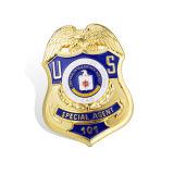 Insigne de police plaqué par argent irrégulier fait sur commande (GZHY-BADGE-015)