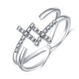 De gouden Dwars Regelbare Ringen van het Huwelijk zijdelings voor Vrouwen (CRI0526)