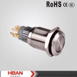 Ce ISO9001 die 16mm het Roestvrij staal 2no2nc van het Metaal de Schakelaars van de Drukknop sluiten