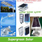 Réverbère solaire accessible de la CE 20W 30W DEL