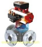 Double robinet à tournant sphérique à trois voies temporaire d'actionneur pneumatique