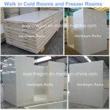 Caminhada no quarto frio e no quarto do congelador com tamanhos padrão