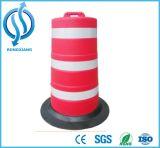 Cilindro de advertência da segurança branca vermelha reflexiva plástica