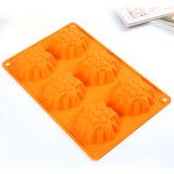Orange de moulage de gâteau de silicones de catégorie comestible de moulage de gâteau/savon de Bakeware de silicones