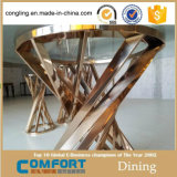 De moderne Duidelijke Hoogste Eettafel van het Glas met het Frame en de Basis van het Roestvrij staal