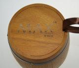 黒いたがが付いている習慣によって刻まれるロゴの木のコーヒー豆のバレル