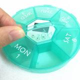Caso do alarme da medicina e independente portáteis da grade da grande capacidade 7 da saúde 4 de Digitas do comprimido da caixa da caixa do temporizador da medicina grupos do lembrete do distribuidor, verde azul