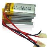pilha de bateria recarregável do Li-Polímero de 5X15X28mm 150mAh 3.7V com PCM e fios