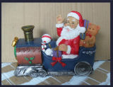 Regalo de Navidad de Polyresin Santa Claus Holding Candle Holder