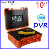 """10 """"デジタルLCDスクリーンが付いている防水下水管の点検カメラCr110-10g及び20mから100mのガラス繊維ケーブルが付いているDVRのビデオ録画"""