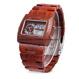 두 배 운동 손목 시계를 가진 주문 Handmade 나무로 되는 남자 석영 시계