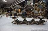 Cremagliera di legno unica del vino di figura di onda delle 12 bottiglie per visualizzazione