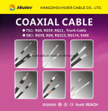 Cable coaxial de cobre siamés de la cámara RG6/U del IP con la potencia para el CCTV