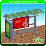 가벼운 상자 버스 대기소 역을 광고하는 스테인리스