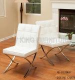 Neue Art-weißes Leder, das Stuhl mit den Stahlbeinen (NK-DCA080, speist)