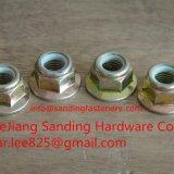 Controdadi di nylon Hex della flangia placcati zinco giallo Gr8