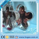 Globo barato de acrílico en forma de corazón de la nieve del marco de la foto