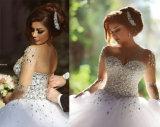 Een kleding van het Huwelijk van Tulle van de Lijn/van de Prinses met het Lijfje van het Kristal