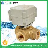 Válvula de esfera motorizada horizontal da água da maneira da miniatura 3
