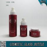 Бутылки акриловых крышек косметические стеклянные и косметический распылять красного цвета опарников стекла