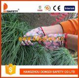 13의 계기 빨간 꽃 디자인 폴리에스테 강선 백색 PU 입히는 장갑 Dpu512