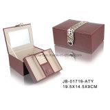 ブラウン革Retangleの形の宝石類の収納箱の宝石箱