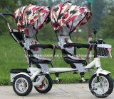 Sitzkind-Kind-Baby-Dreirad des Doppelt-zwei für Zwillinge