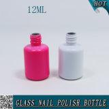 Bottiglia di vetro del gel da 12 ml di chiodo dell'olio UV vuoto rotondo del polacco con il coperchio nero