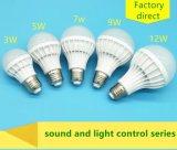 3W ~ 12W sonido y bombilla LED de control de luz de fábrica de China