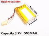 MP3 MP4 DVD GPS PSP Bluetooth 비디오 게임 장난감을%s 3.7V 500mAh 702030 Lipo 리튬 중합체 재충전 전지