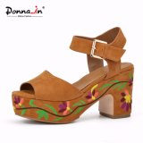 Frauen-Veloursleder-Leder-Absatz-Stickerei-Plattform-Dame Casual Sandals