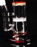 Bernsteinfarbige Funktions-Pfeifen des Farben-Glaswasser-Rohr-Recycler-zwei