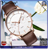 Yxl-438中国製粋な方法ステンレス鋼のCasebackの腕時計は水晶腕時計ビジネスブランドの革水晶メンズウォッチを渡す