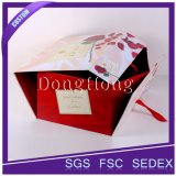 Boîte-cadeau se pliante d'emballage plat de luxe de carton avec la bande