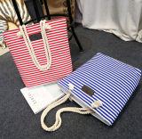 Os sacos do lazer da lona da listra para a senhora, sacos de Tote simples da listra do estilo voam CB0069