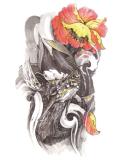 Autoadesivo provvisorio del tatuaggio di arte dell'autoadesivo del tatuaggio del grande fiore del drago