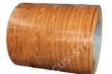 Feuille filmée par bobine colorée en bois estampée de la brique PPGI PPGI