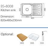 De nieuwe Gootsteen van de Keuken van het Roestvrij staal Arrial (BS-8008)