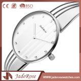 Dame-moderne Art-große Vorwahlknopf-Edelstahl-Quarz-Uhr