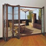 Demi de portes en verre de glissement en aluminium intérieures ouvertes pour le balcon