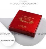 Regalo di lusso del MDF che impacca la casella commemorativa di colore rosso della moneta