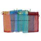 Promocional cordón nailon de satén no tejido de organza bolsa