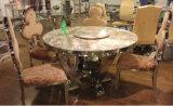 円形デザインステンレス鋼の倍のガラスダイニングテーブル