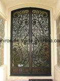 Porta exterior do projeto da porta do dobro do ferro feito do projeto de Morden